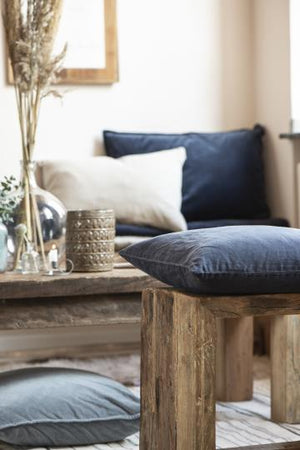 Load image into Gallery viewer, 40 x 60 cm Navy blue Linen Cushion Cover 100% cotton