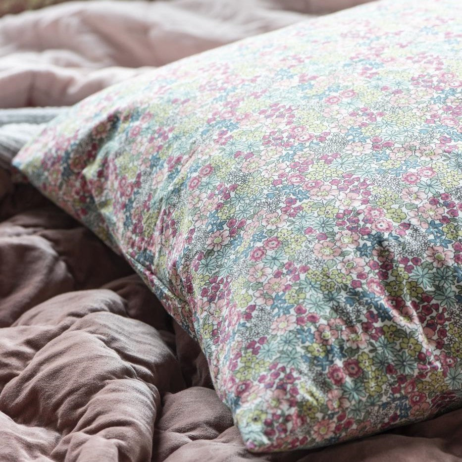 Pink, Green & Blue Ditsy Floral Cushion Cover, 60 x 60 cm