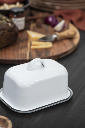 Load image into Gallery viewer, Enamel butter dish - chalk white