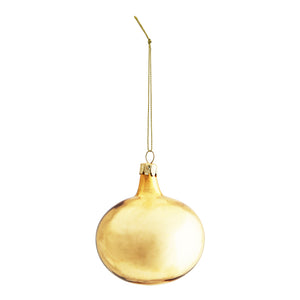 Gold glass bauble, round with long neck and loop of gold cord attached for hanging on a tree. 8cm
