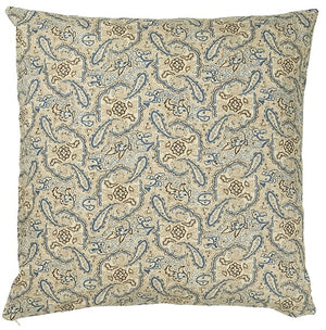 50 x 50 cm Off-white, Blue & Brown Paisley Print Cotton Cushion Cover