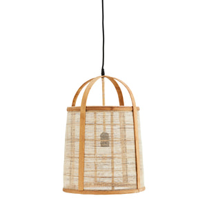Bamboo lamp structure with off white linen fabric encircling the lightbulb area. Black cable attached.