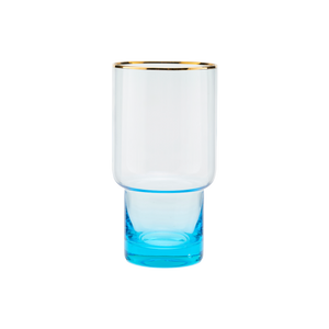 Load image into Gallery viewer, House Doctor glamorous tall drinking or cocktail glass, Indora. The glass is blue at the base fading to clear with a gold rim.