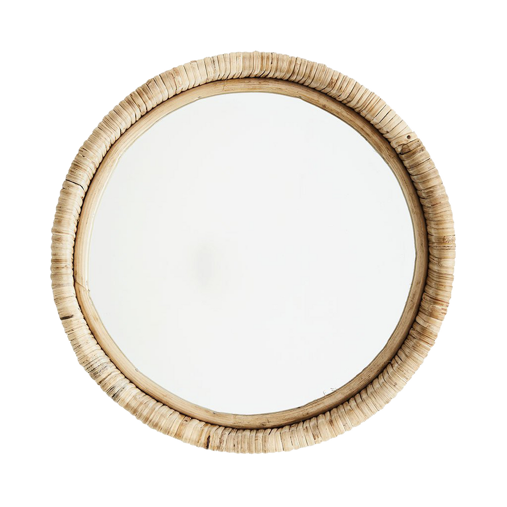 Load image into Gallery viewer, Round Mirror With Woven Bamboo Frame, 30 x 8 cm