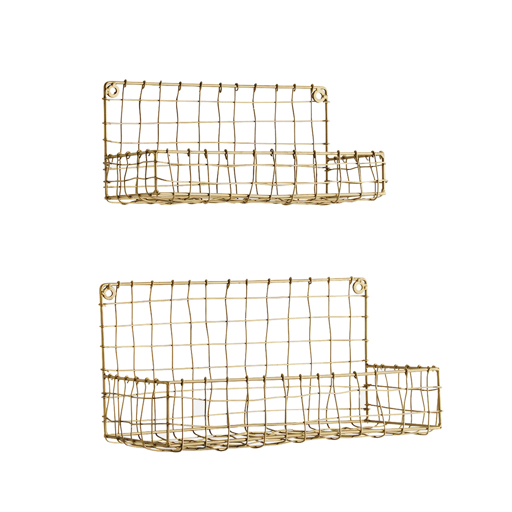 Set of 2 Brass Wire Mesh Hanging Shelves