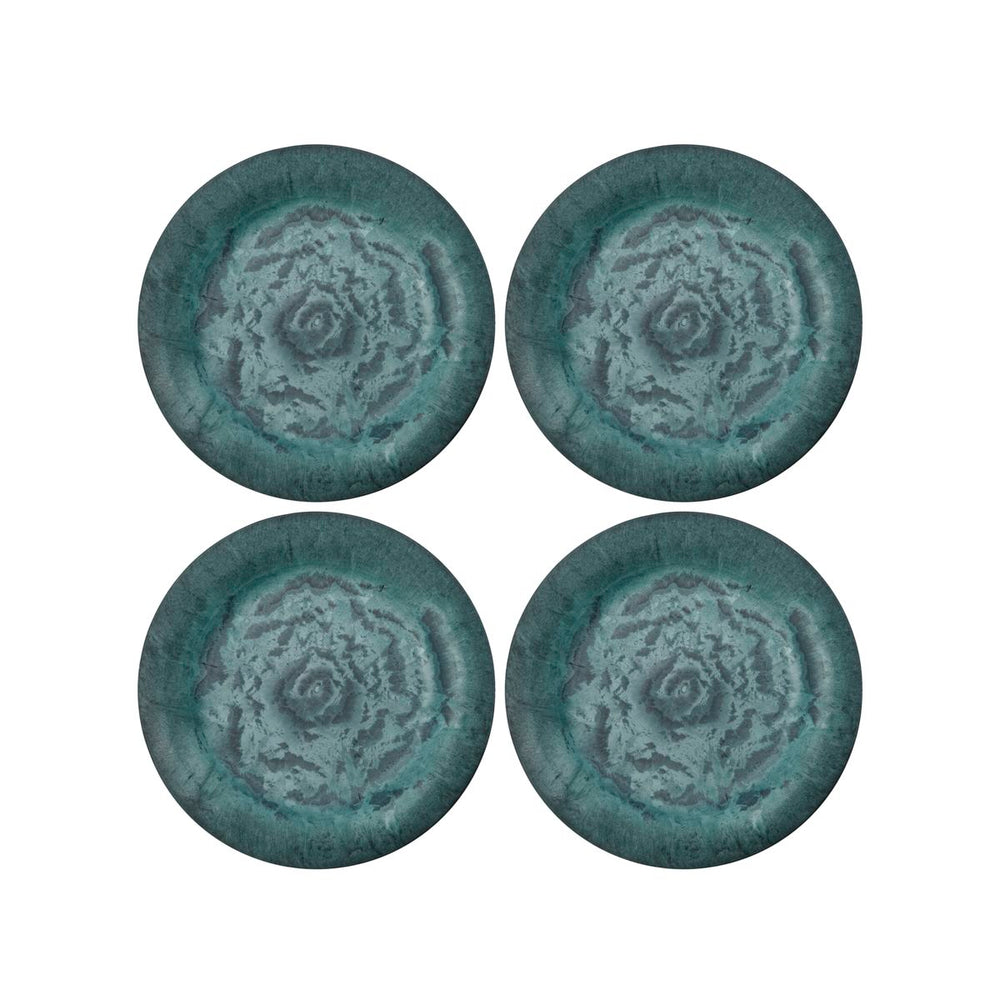 Set of 4 Marbled Green Plates