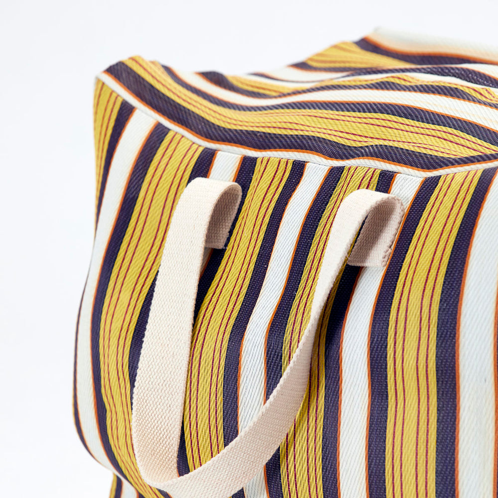 Retro Yellow & Brown Striped Recycled Plastic Weekend Bag
