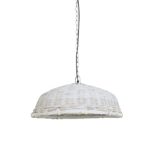 Pale grey, rattan weave, pendant lamp.