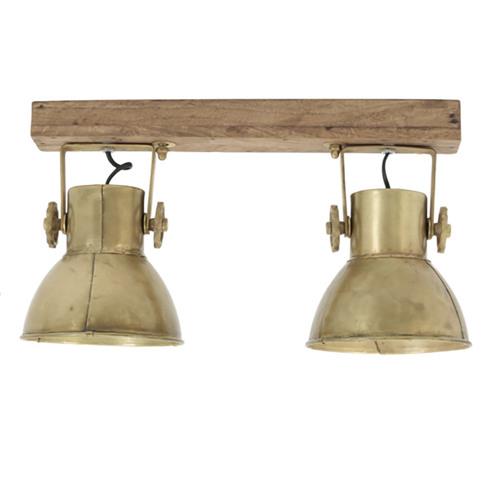 Elay Double Bronze & Wood Ceiling/Wall Light