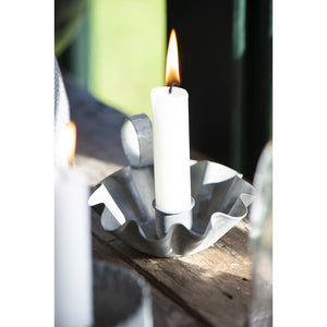 Set of 2 Wavy Edge Metal Candle Holder with Handle