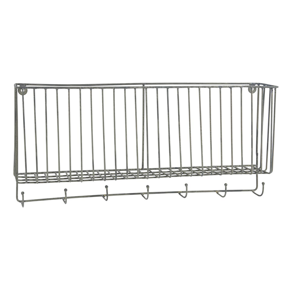 Metal wall basket with 7 hooks