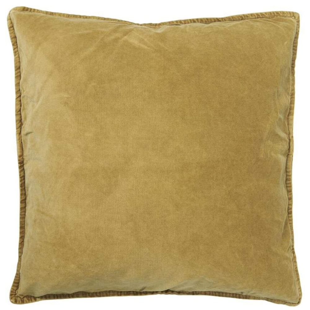 50 x 50 cm Mustard Yellow Cotton Velvet Cushion Cover