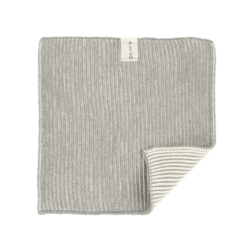 Set of 2 Soft Grey Knitted Cotton Wash Cloth