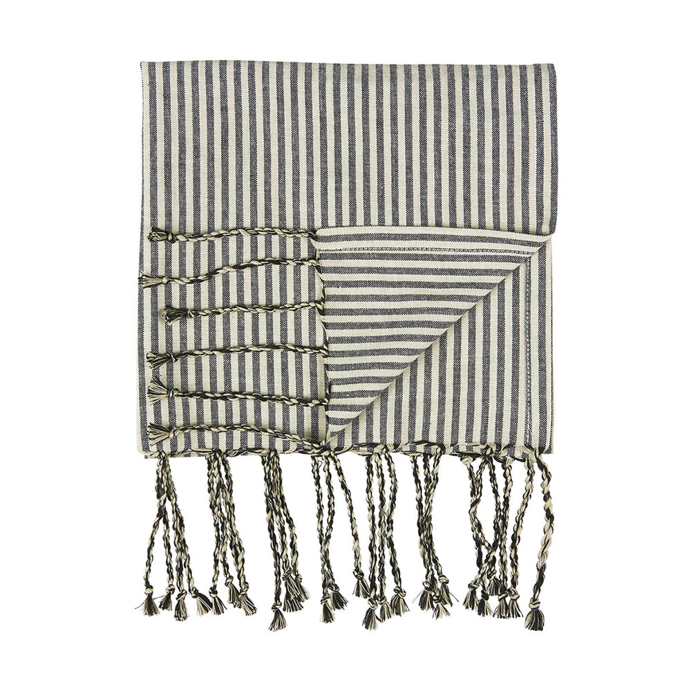 Black & White Striped Cotton Hammam Towel