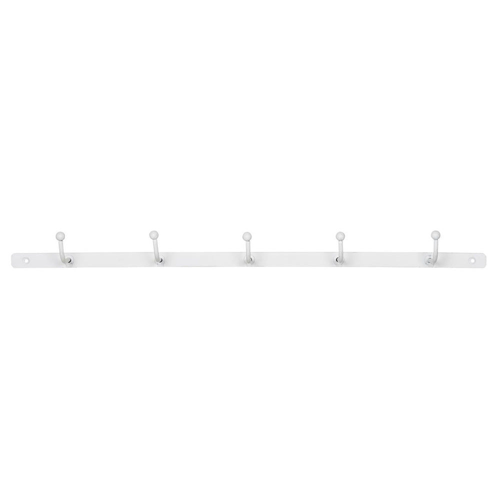 White Metal 5 Hook Coat Rack
