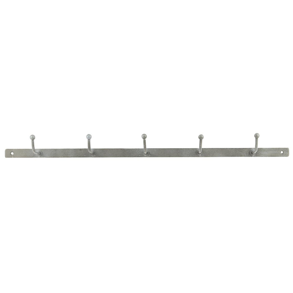 Grey Metal 5 Hook Coat Rack