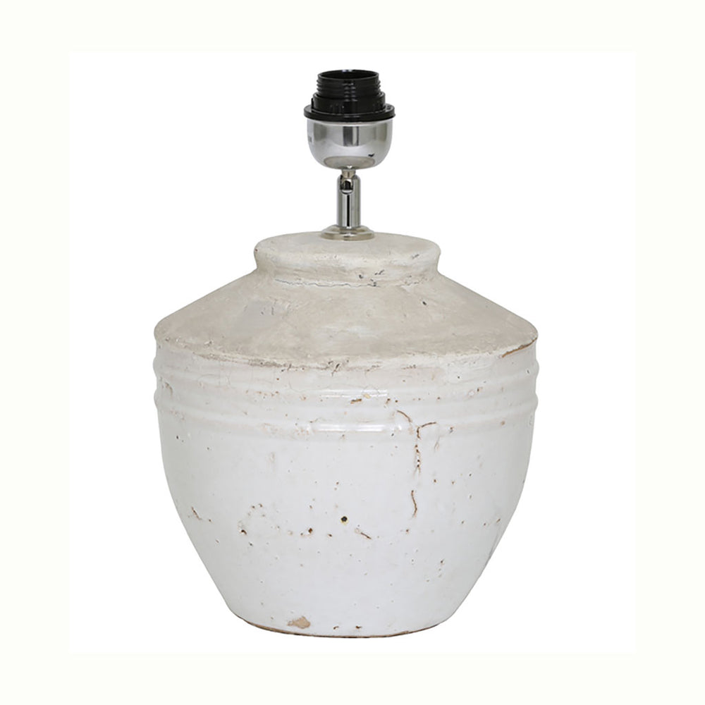 """Toba"" Antique White Ceramic Small Lamp Base"