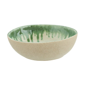 Oval White & Green Glazed Stoneware Bowl