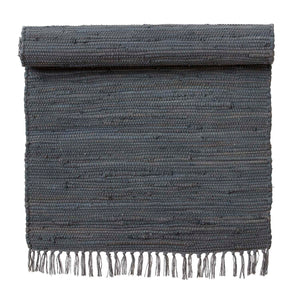 Load image into Gallery viewer, 100 % Cotton Asphalt Grey Chindi Rug, 70 x 130 cm