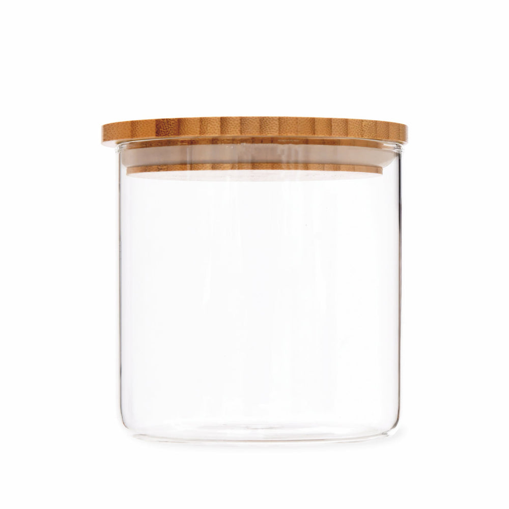 Audley Small Glass Storage Jar With Bamboo Lid, 880ml