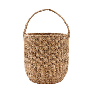 Woven tall basket made from seagrass with a handle for ease of carrying.