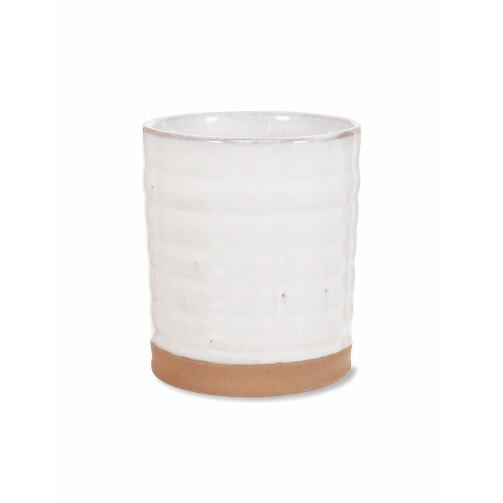 Small ceramic pot part glazed in off-white, with the base in a sandy coloured ceramic.