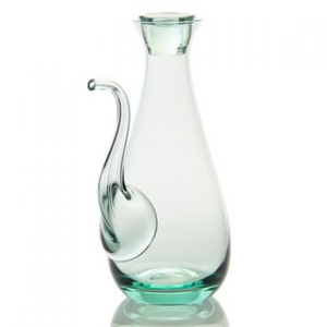 Load image into Gallery viewer, A glass decanter in a teardrop shape with a long slender spout for pouring oil or vinegar out of, and a stopper in the neck to keep it fresh.