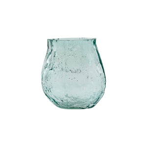 Load image into Gallery viewer, A small, clear light blue coloured glass vase in an asymmetrical shape. The glass has bumps and textures all over to make a ripple effect.
