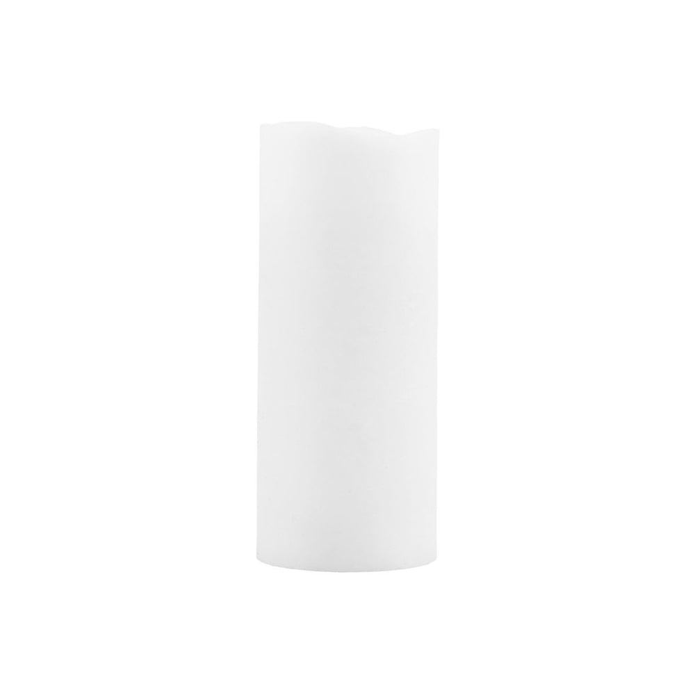 A tall white artificial pillar candle, battery powered, with a warm light inside and a flickering plastic 'flame'.