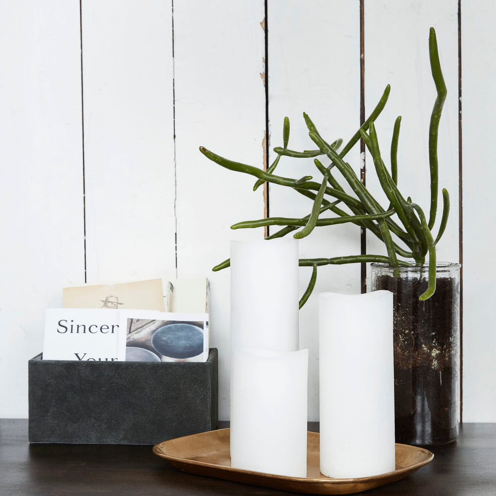 Tall White LED Pillar Candle 18cm