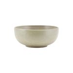 Round serving bowl in a sand coloured glaze with brown flecks.