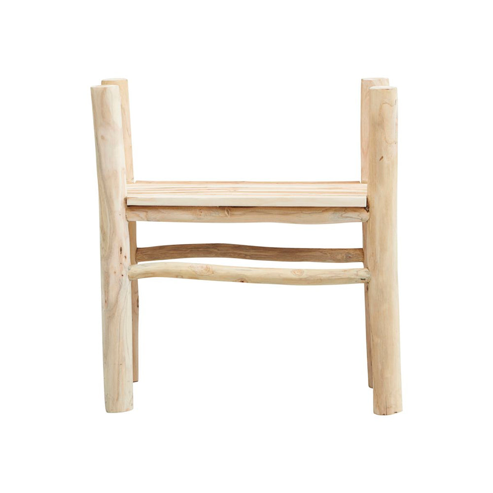 A wooden backless chair made from light coloured teak wood, with 4 legs and an armrest at either side of the seat