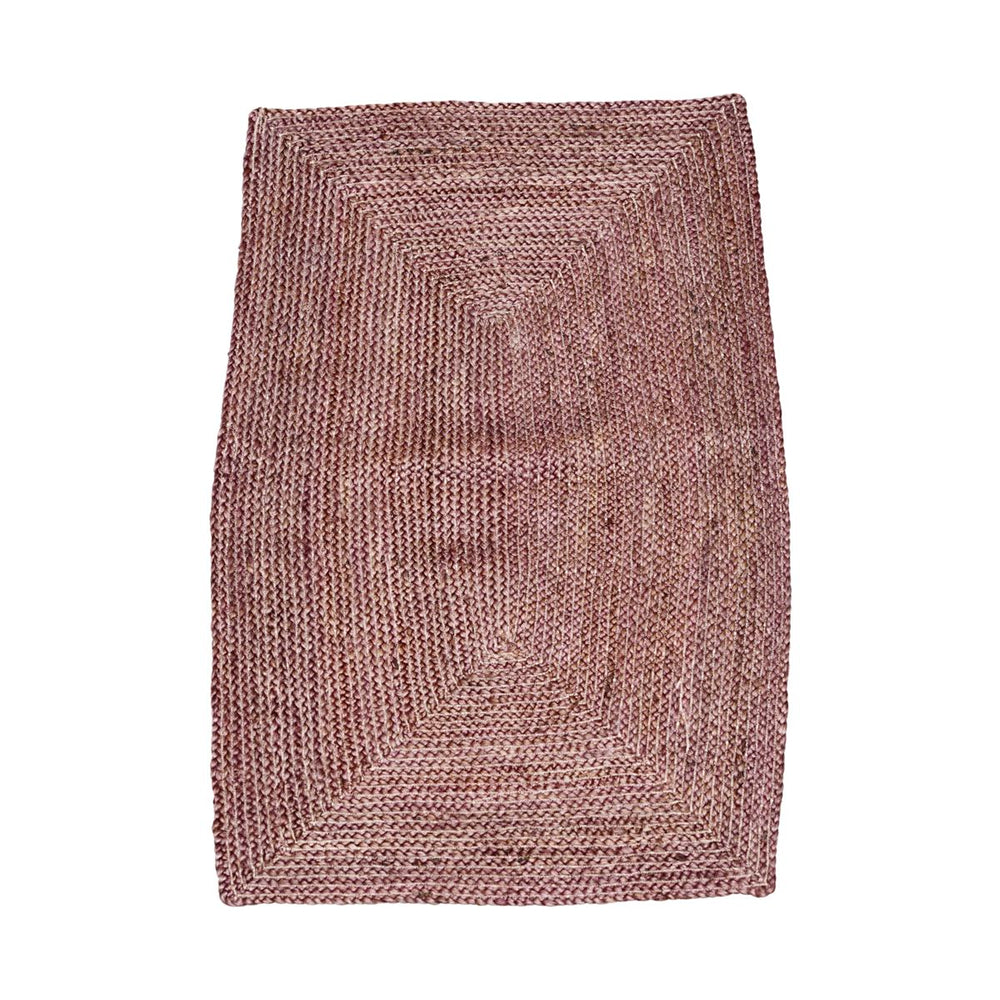 A braided rug made of hemp, in dark henna red and natural light brown. The rug is a rectangular shape with bowed sides.