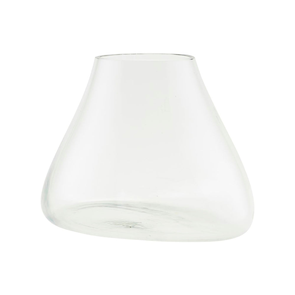 Clear glass terrarium style vase in a slanted pear shape.