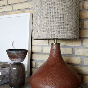 Burnt Henna Stoneware 'Diya' Table Lamp Base