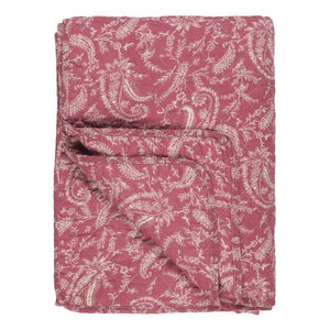 Pink & White Vintage Paisley Printed Cotton Quilt, 130 x 180 cm