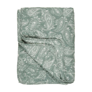 Dusty Green & White Paisley Printed Cotton Quilt, 130 x 180 cm
