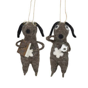 Load image into Gallery viewer, Two grey felt dogs with black ears, one has a book the other a cup