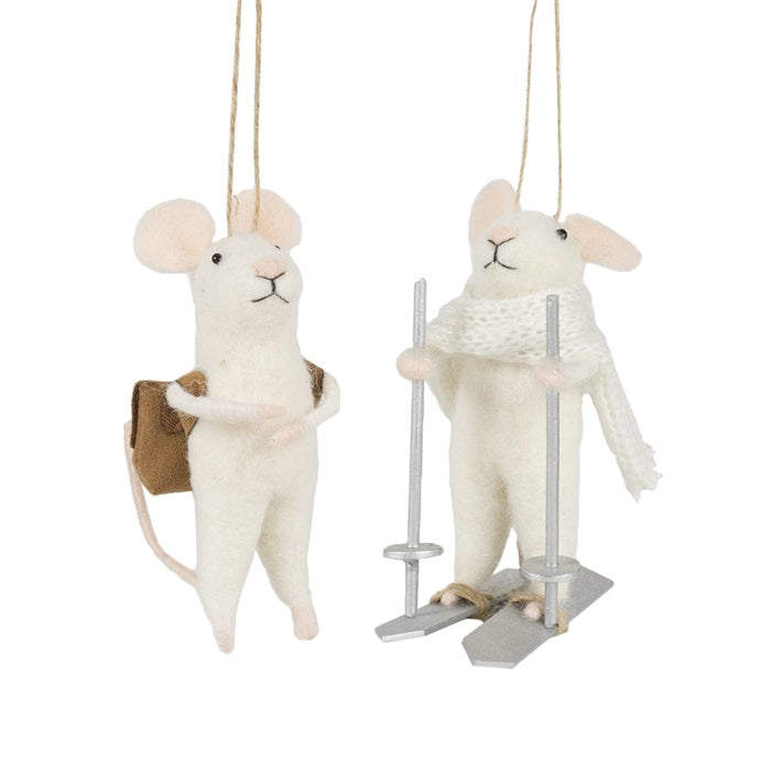 Two felted white mice. One with an old fashions satchel and one with skis and a scarf.