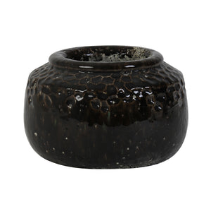 Load image into Gallery viewer, Dark brown ceramic planter, with hexagonal indents as part of the design, and a lip surrounding the top of the planter.