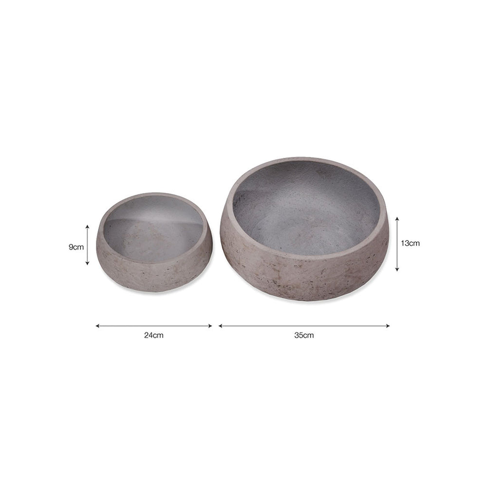 Set of 2 Cement Stratton Flower Bowls