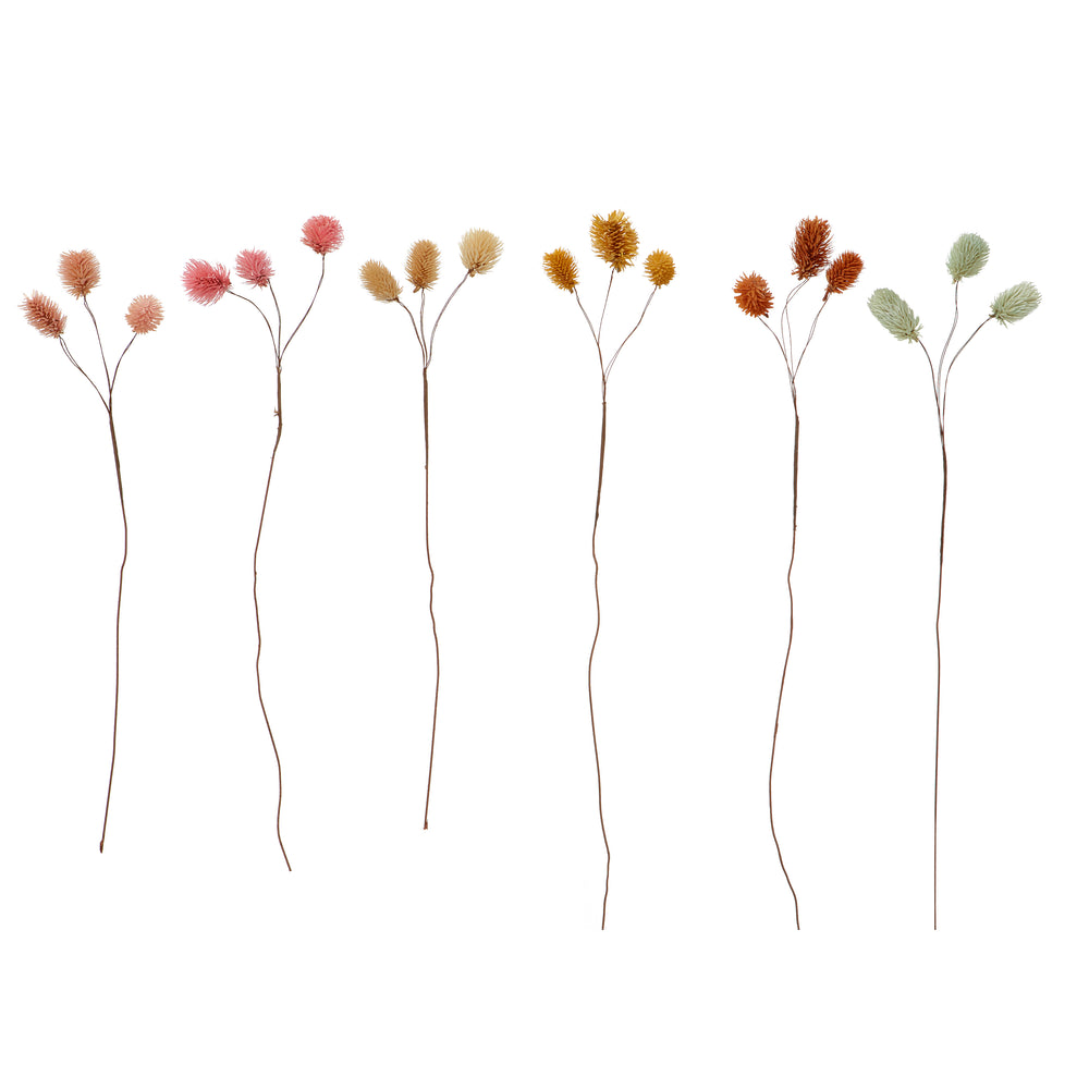 Load image into Gallery viewer, Set of 6 Dried Straw Thistle Flower Stems in Assorted Colours, 80 cm