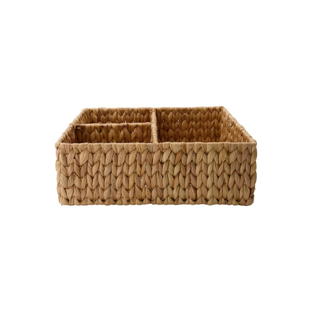 Golden Brown woven basket made from natural materials. Inside it is divided in half with 1 large compartment and 2 quarter sized smaller ones.