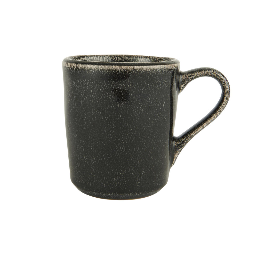 A black stoneware mug with mottled glazed effect and a handle.