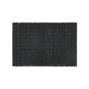 Load image into Gallery viewer, A black rectangular placemat made of bamboo.