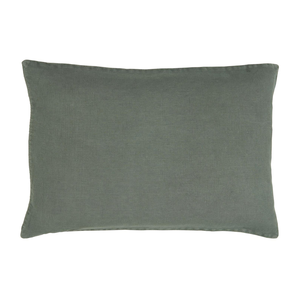 Linen cushion cover in pillow shape, dusty petrol green in colour.