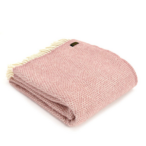Dusky Pink Beehive Pure Wool Throw Blanket