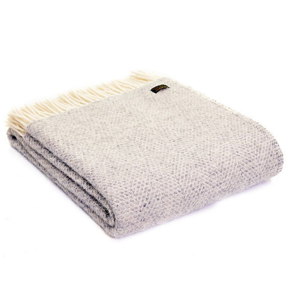 Grey Beehive Pure Wool Throw Blanket
