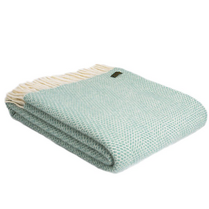 Load image into Gallery viewer, Ocean Blue Beehive Pure Wool Throw Blanket