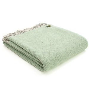Grey & Green Herringbone Pure Wool Throw Blanket